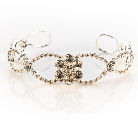 vintage inspired floral rhinestone bangle