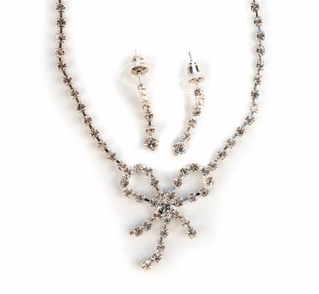 Diamante Bow Necklace Set