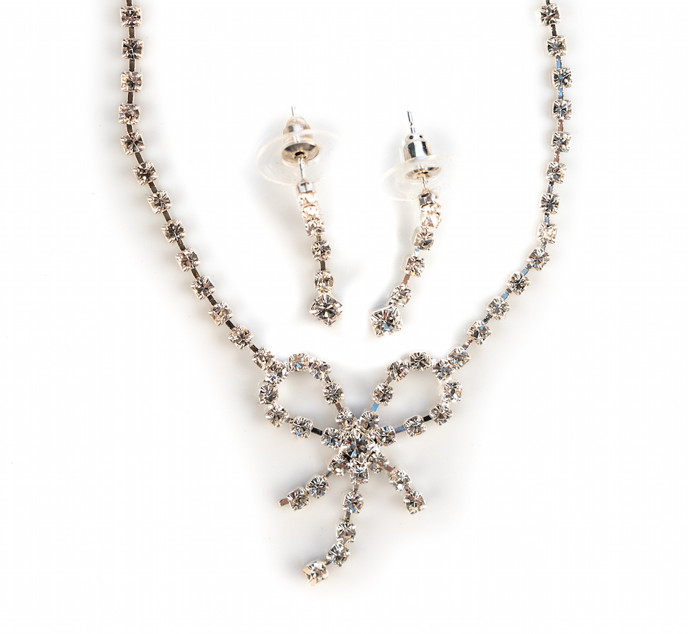 Diamante Bow Necklace Set