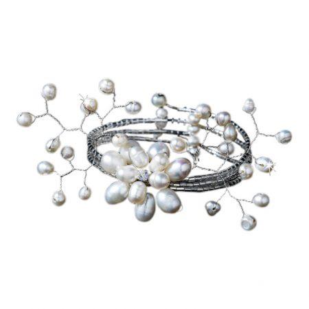 Freshwater White Pearl Coil Bracelet