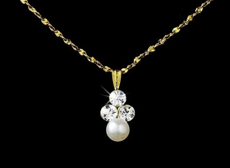 Gold Ivory Pearl Necklace Set