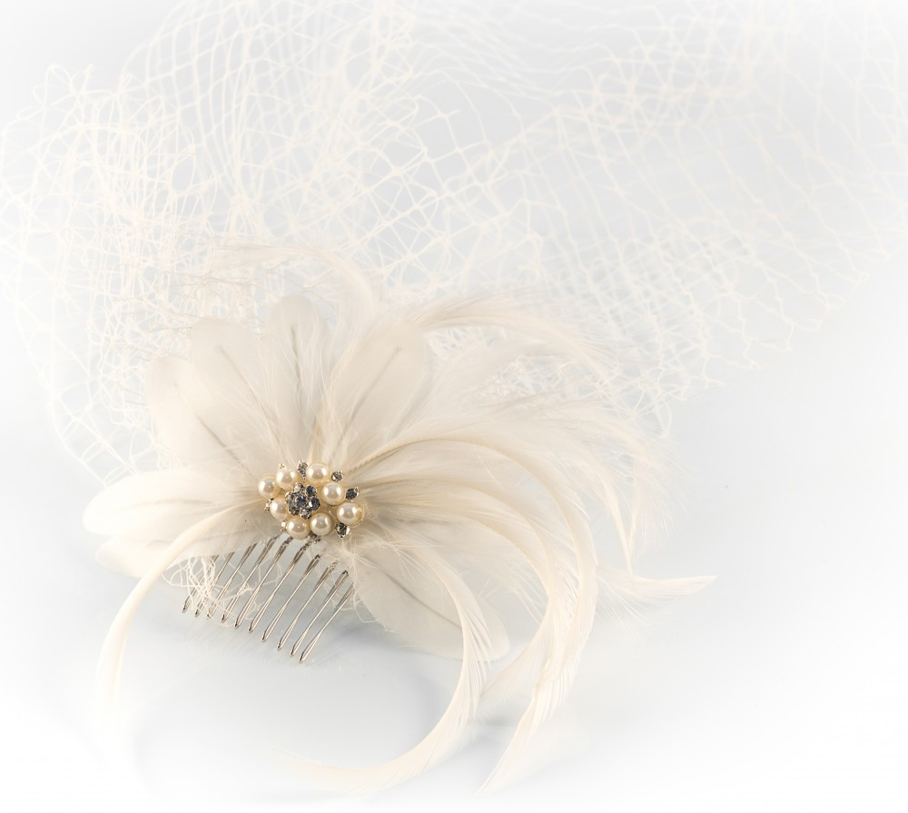 Bridal Feather Fascinator and Cage Veil