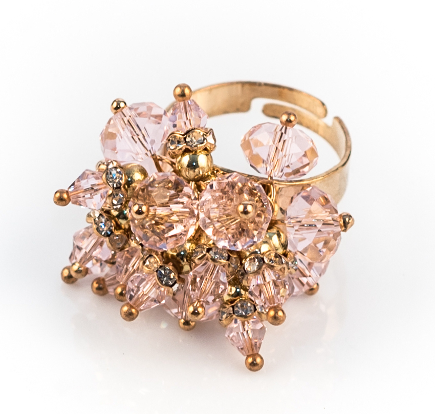 Pink Crystal Bead Cocktail Ring