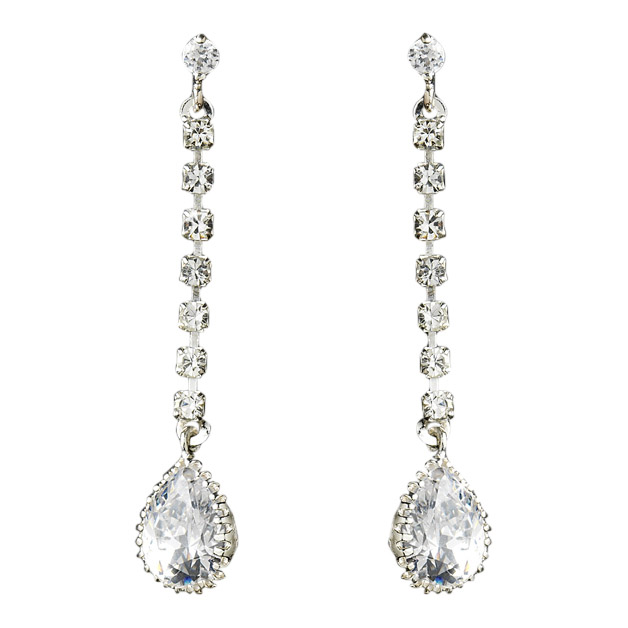 Rhinestone Teardrop Dangle Earrings