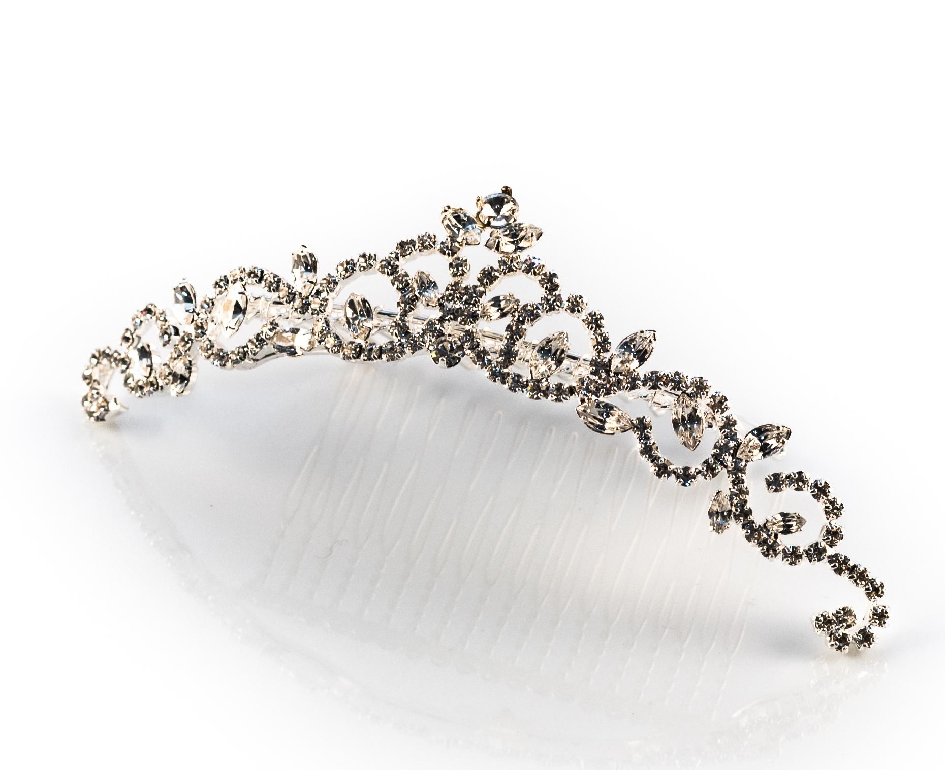 Silver Rhinestone Tiara Comb