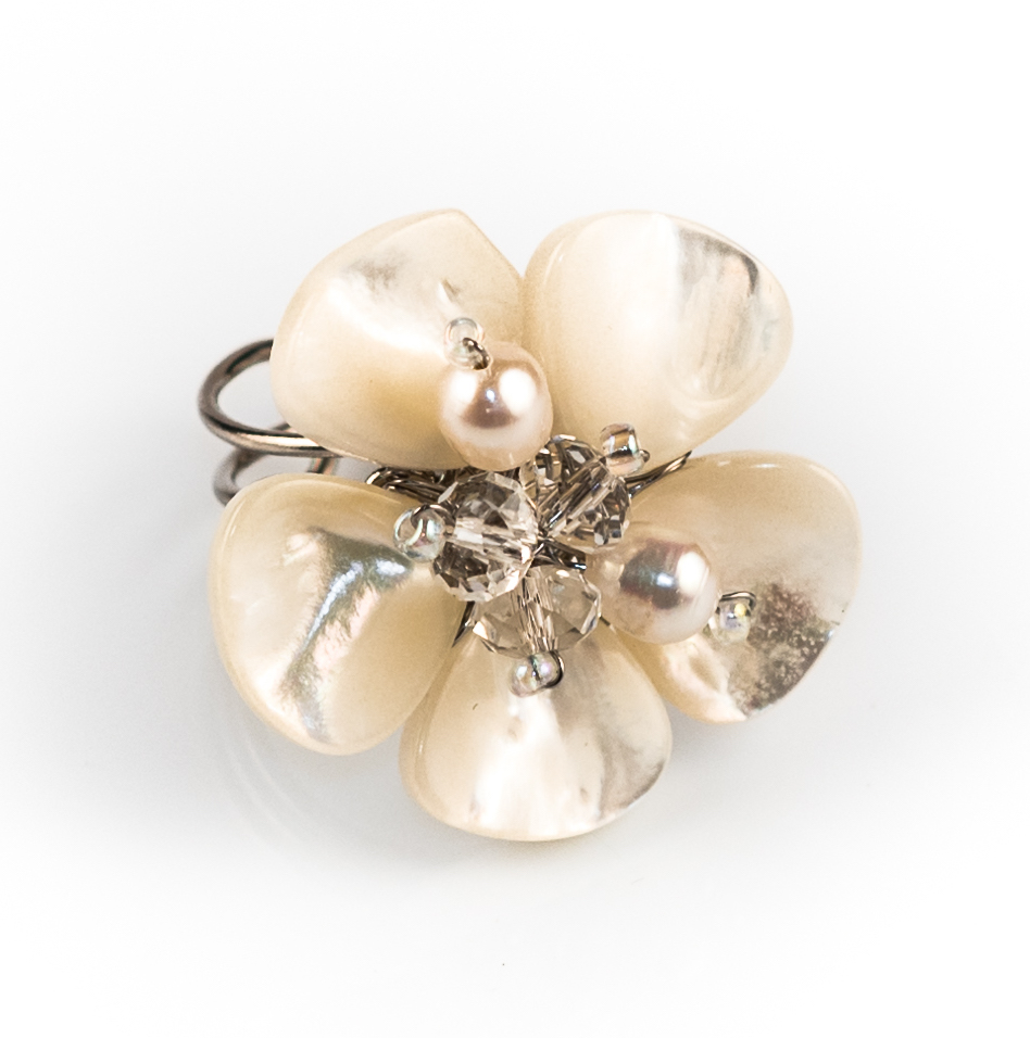 Ivory Shell Flower & Crystal Cocktail Ring