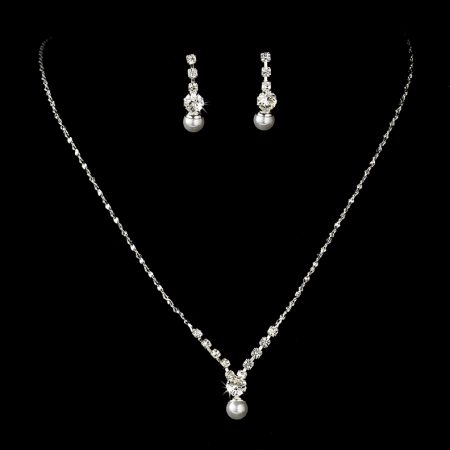 Silver Plated Crystal Pearl Necklace Set