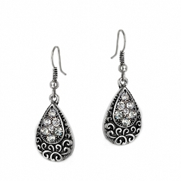 Antique Design Oval Diamante Earrings