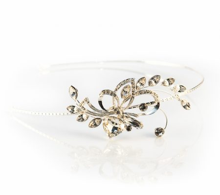VINTAGE SILVER PLATED CRYSTAL HEADBAND