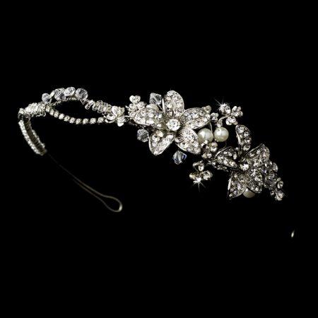 Vintage Swarovski Crystal Pearl Floral Headband
