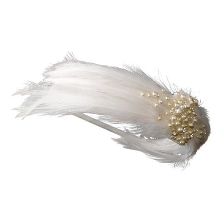 Vintage White Pearl Feather Headband