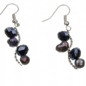 Black Pearl & Bead Earrings