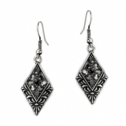 Diamond Shaped Antique Design Diamante Earrings (Dark)