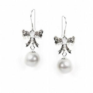 White Pearl & Diamante Bow Earrings