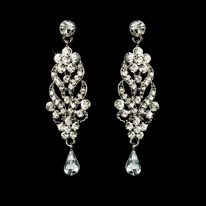 Silver Plated Crystal Chandelier Earrings