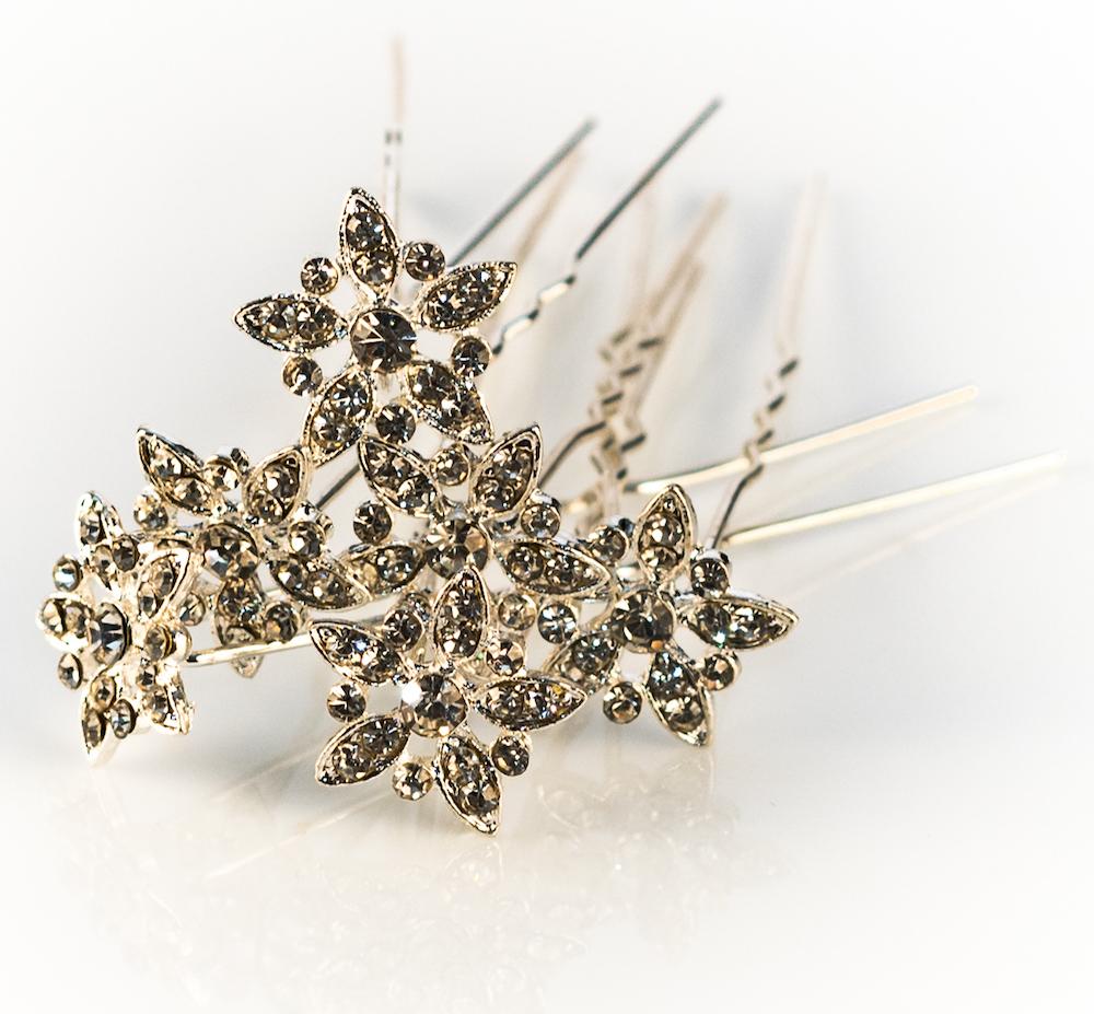 Silver Clear Crystal Hair Pins - 10 Pins