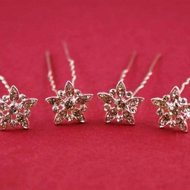 Silver Clear Crystal Hair Pins – 10 Pins