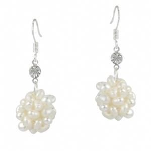 White Freshwater Pearl Cluster Earrings