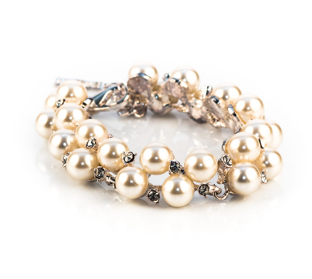 White Faux Pearl Crystal Bracelet