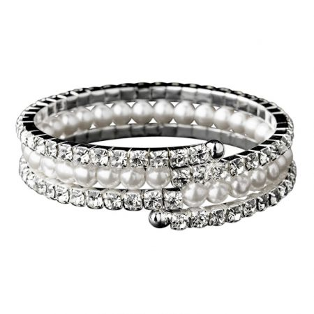 White Pearl Diamante Coil Bangle