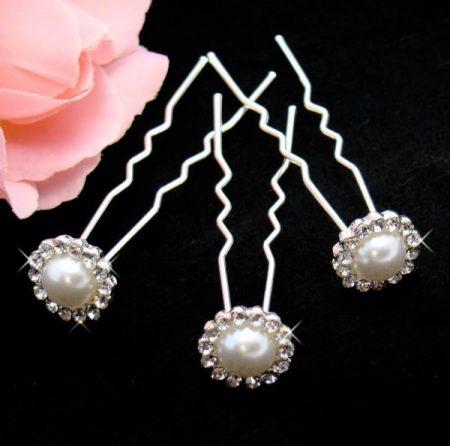 Ivory Pearl Crystal Daisy Hair Pins – Pack 10