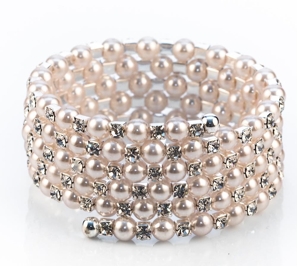 Diamante Pearl Coil Bracelet