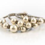 white faux pearl crystal bangle