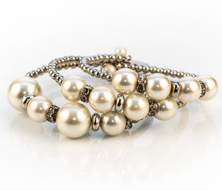 white faux pearl crystal bangle