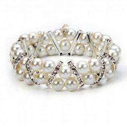 Pearl & Crystal Bracelet - Costume Jewellery