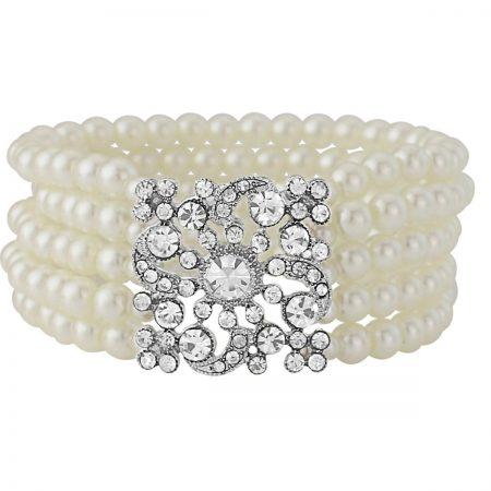 Vintage Inspired White Pearl Choker Bracelet