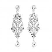 Silver Plated Crystal Chandelier Earrings