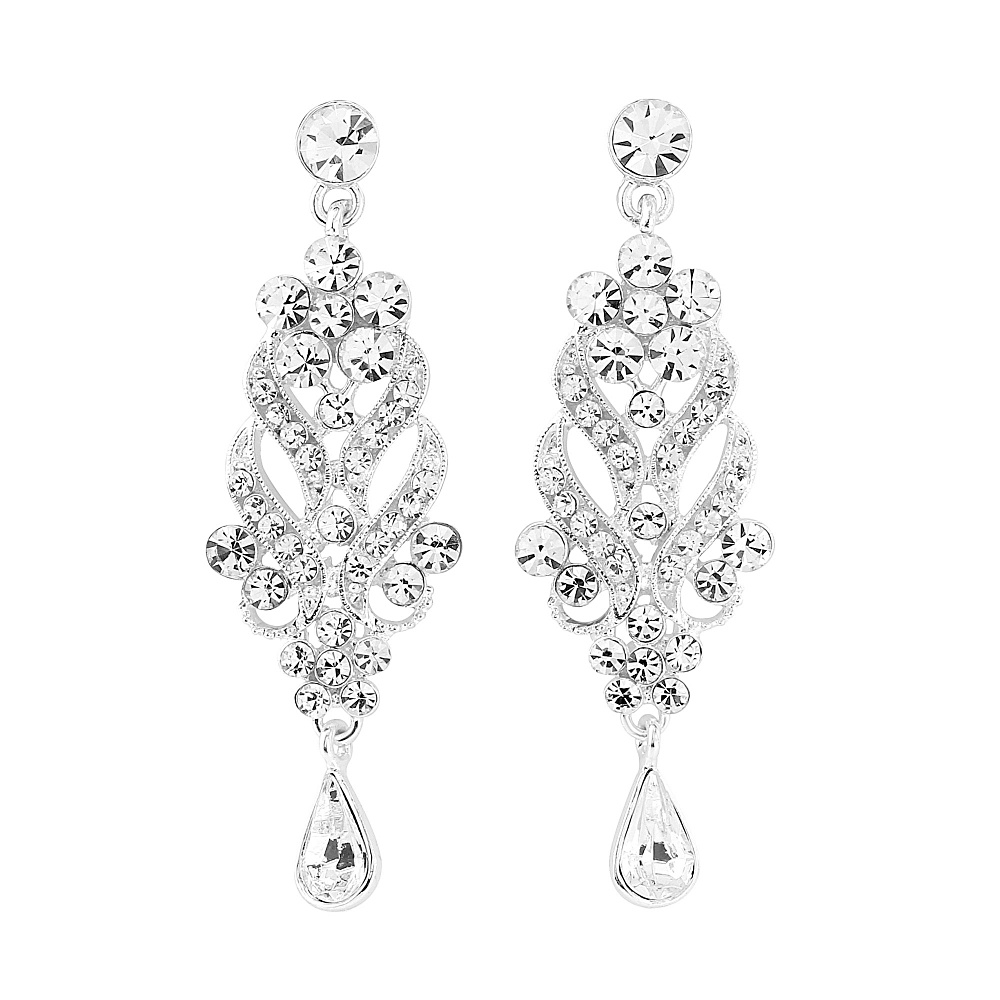 Silver Plated Crystal Chandelier Earrings Simply Plush