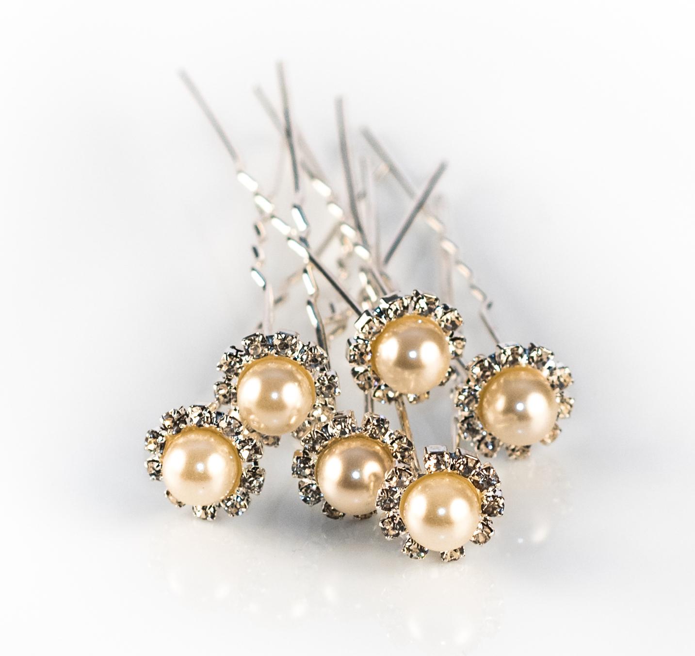 Ivory Pearl Crystal Daisy Hair Pins - Pack 10