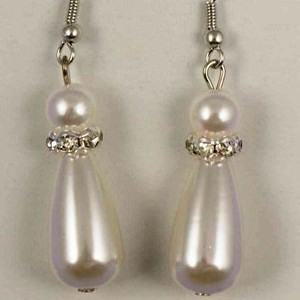 White Teardrop Pearl & Crystal Earrings