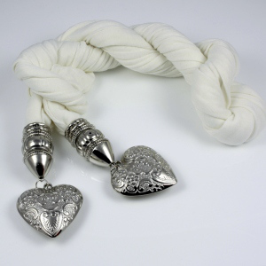 Silver Heart Shaped Jewelled Scarves
