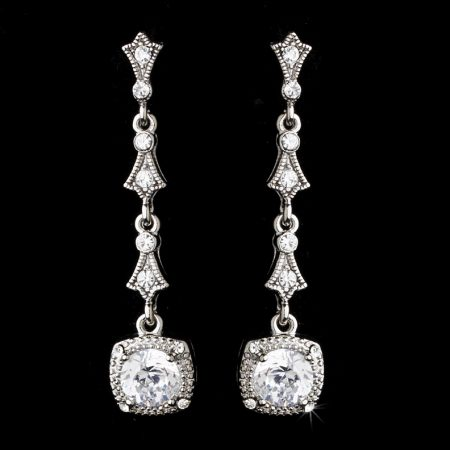 Silver Clear Rhinestone Drop Earrings