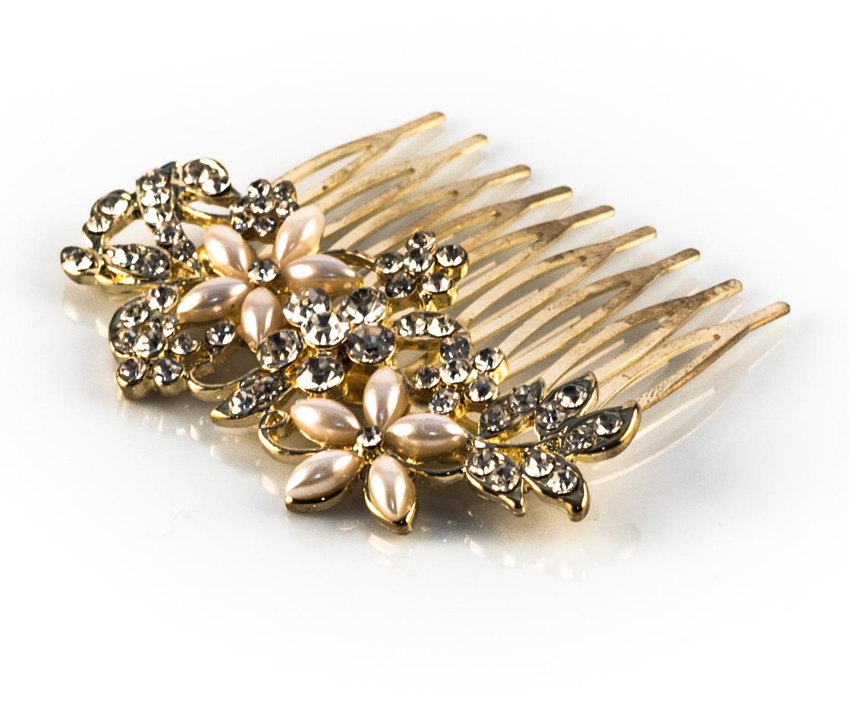 Gold Rhinestone Pearl Floral Hair Comb