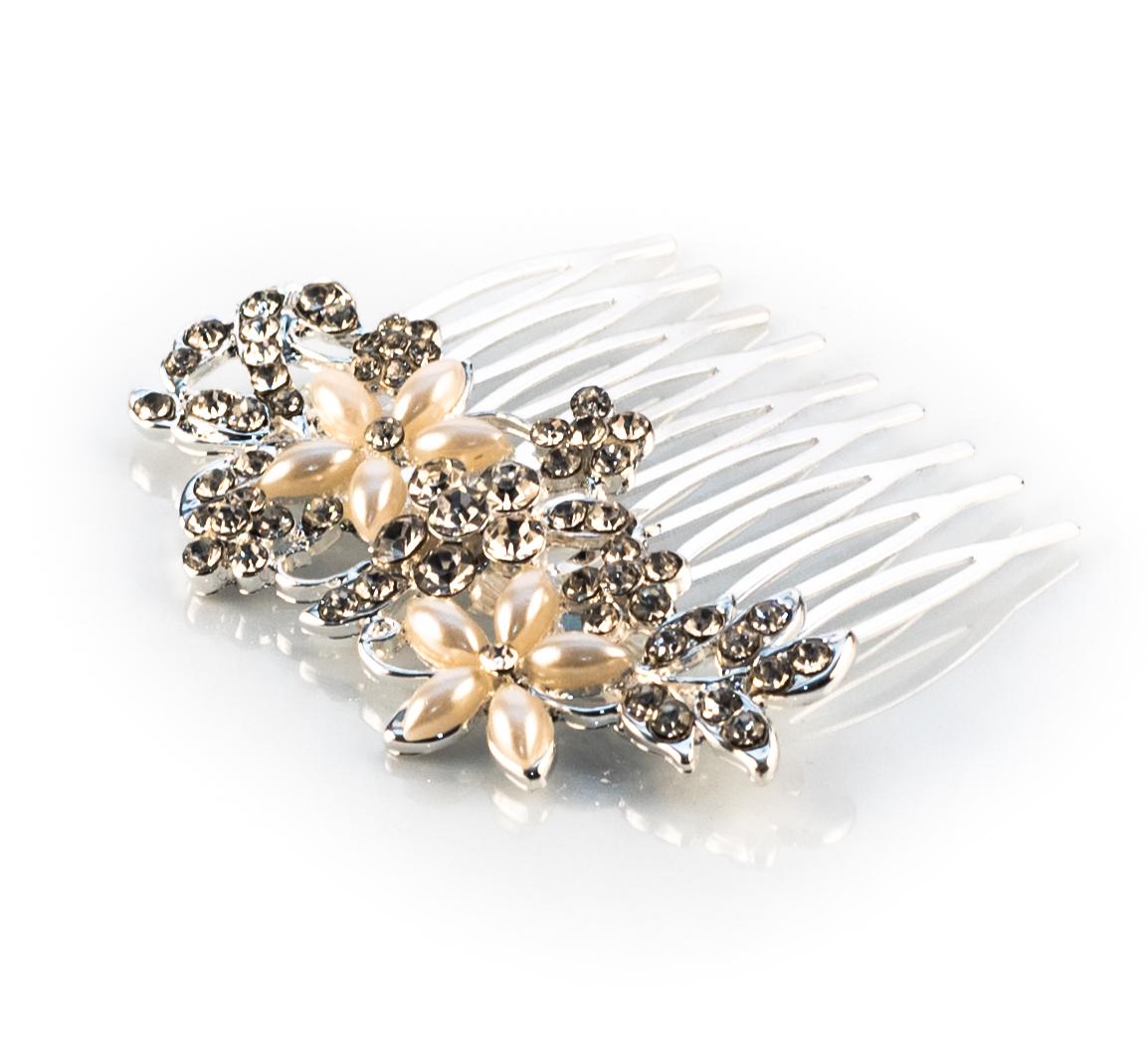 Rhinestone Pearl Floral Comb - Siver Tone
