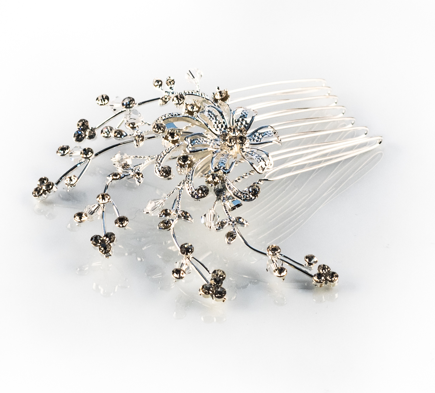 Crystal Trailing Leaves Hair Comb