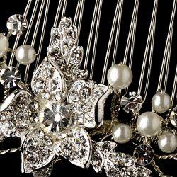 vintage floral pearl hair comb