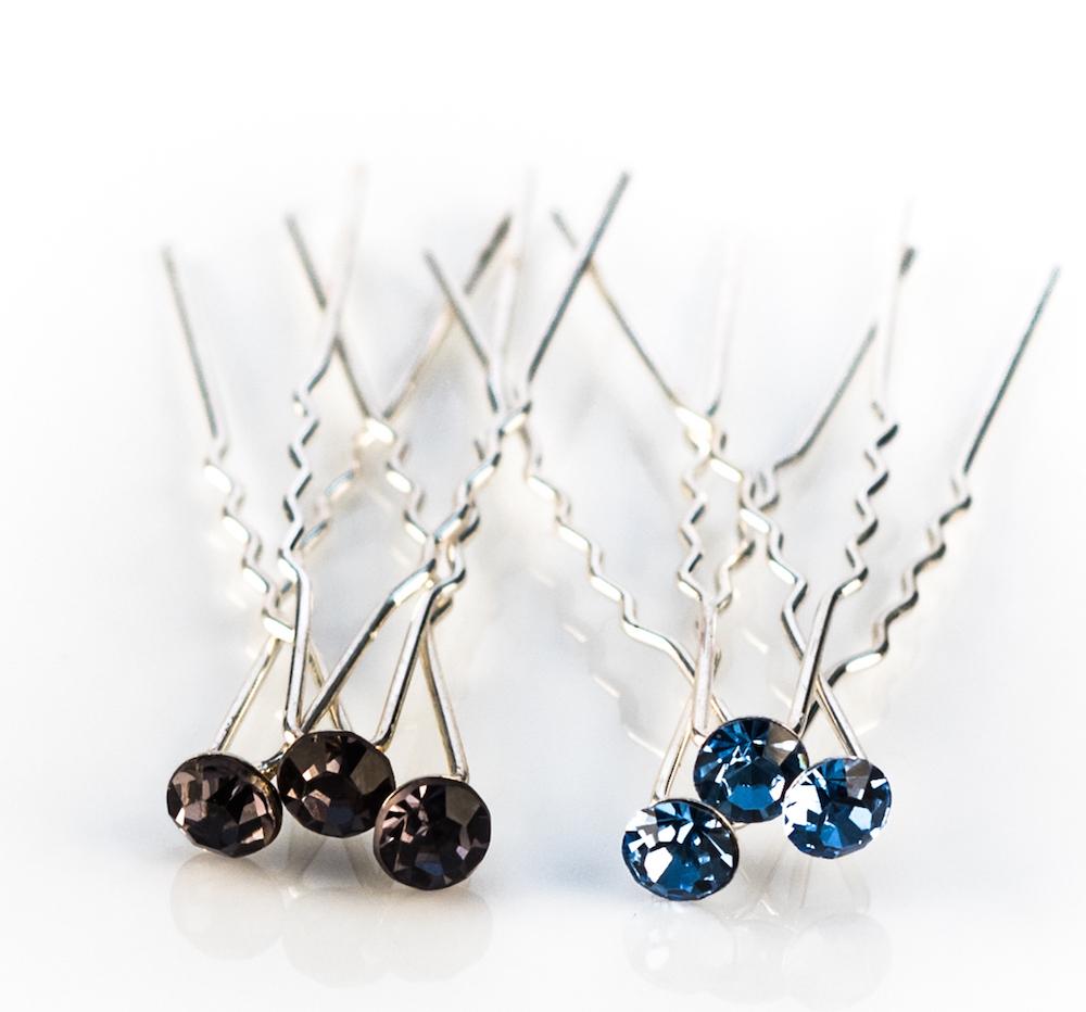 Sky Blue Crystal Hair Pins - 10 Pack