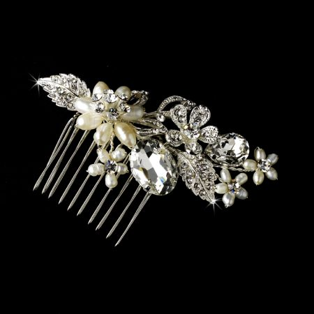 Silver Plated Crystal Pearl Comb