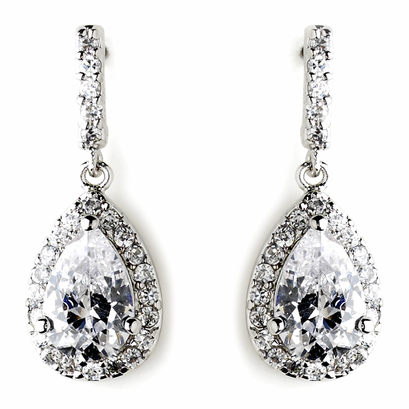 Silver Teardrop Clear CZ Earrings