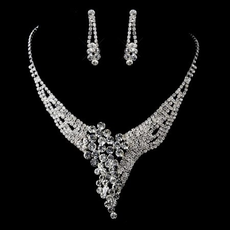 Sparkling Rhinestone Necklace Set