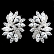 Antique Silver Clear CZ Earrings