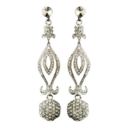 Antique Silver Rhinestone Chandelier Earrings