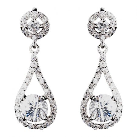 Elegant Silver Crystal Drop Earrings