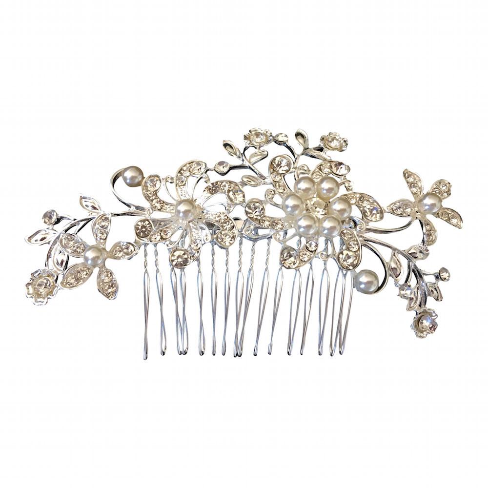 Floral Rhinestone White Pearl Bridal Hair Comb