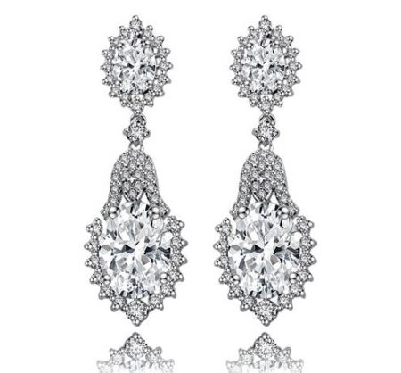 Silver Regal Elegance Cubic Zirconia Earrings