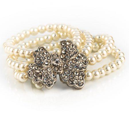Vintage Bow Ivory Pearl Rhinestone Bracelet